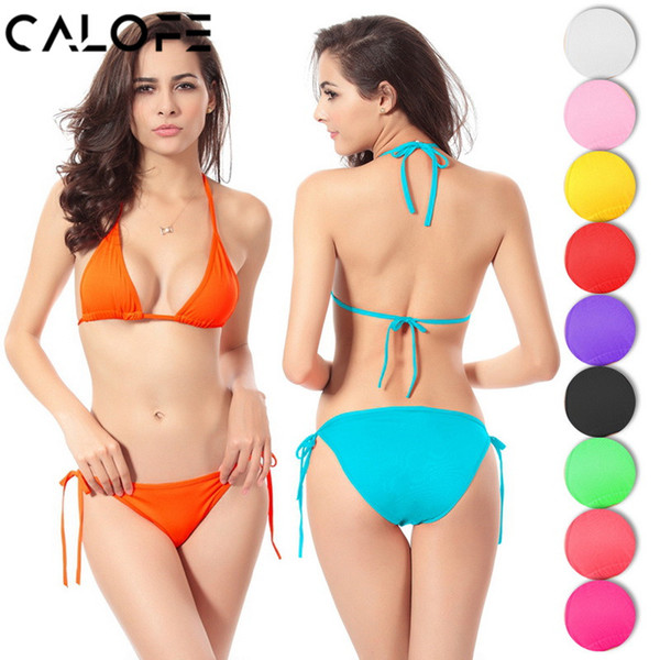 CALOFE Women Bikini Set 2018 Triangle Top Swimming Women Swimsuit Micro Bikini Push Up Bathing Suit Sexy Low Waist Thong Bottom