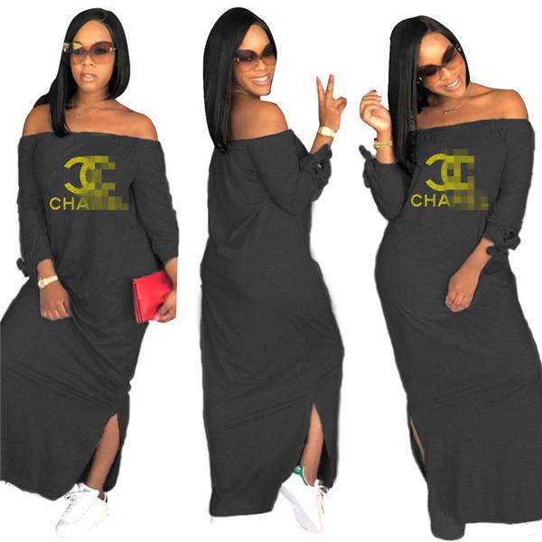 best selling Women Brand Printed Dresses Summer Women Gold Letter Off-Shoulder Long Dress Fashion Split Long Dresses Outfit Casual Clothing C7807