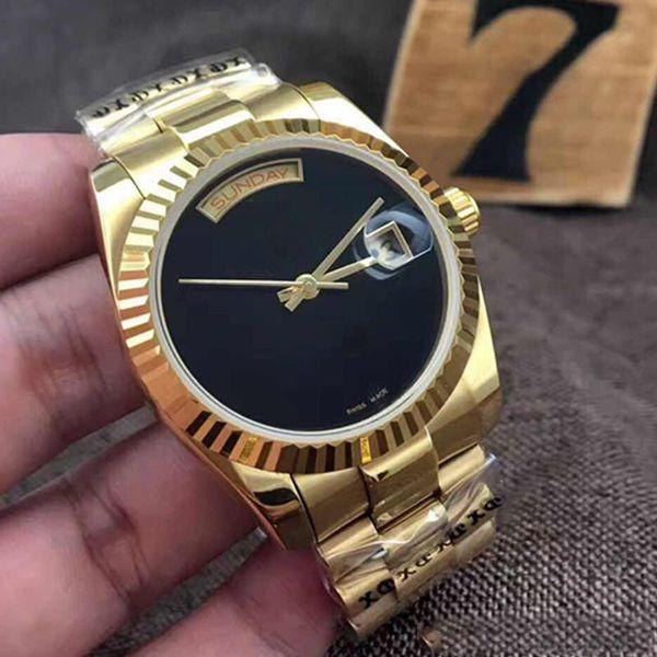 2019 oro amarillo DAYDATE 40 movimiento mecánico de cuerda automática Esfera negra Bisel acanalado Reloj para hombre oculto Crownclasp 228238