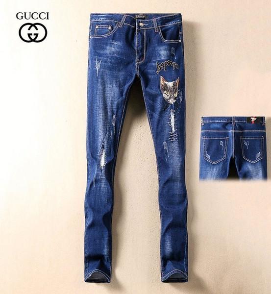 2019 vier Jahreszeiten neue beiläufige Jeans Männer Tier Stickerei Mode Loch schlanke Füße Hosen koreanischen Herrenhose 629 57639807
