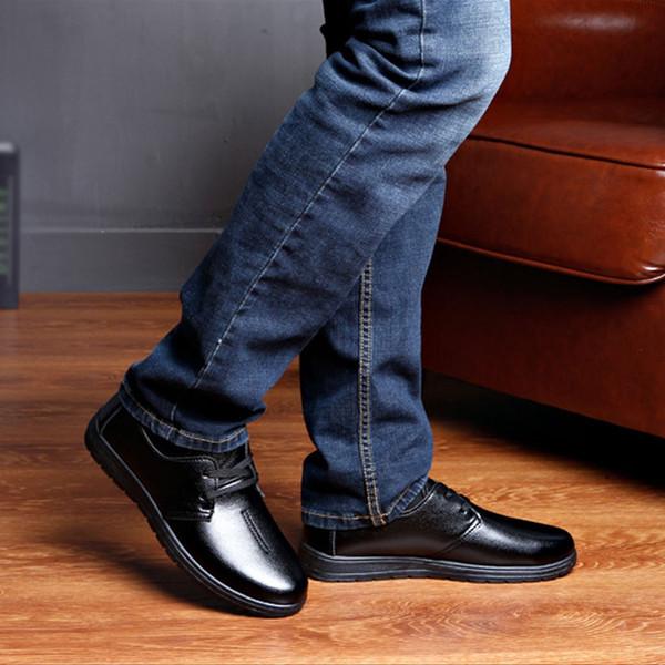Men leather shoes High Quality Elastic band Fashion design Solid Tenacity Comfortable Men's shoes big sizes Apr17