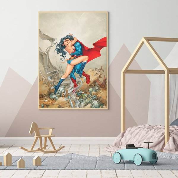 Superman And Wonder Woman Marvel Super Heroes Art Canvas Poster Painting Wall Picture Print For Home For Living Room Bedroom Decoration
