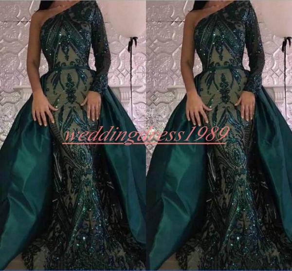 Paillettes de luxe à manches longues sirène robes de soirée jupe amovible une épaule vert partie usure robe de soirée robe de bal de bal de pageant