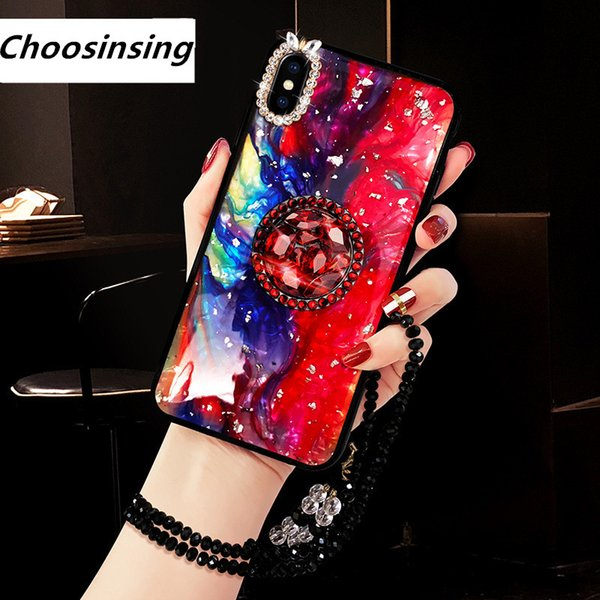 Starry Sky Rhinestone With Finger Ring Plush Chain Phone cover Case For iPhone 7 6 S plus 8 X XS XR MAX Strap Girls Women Gift