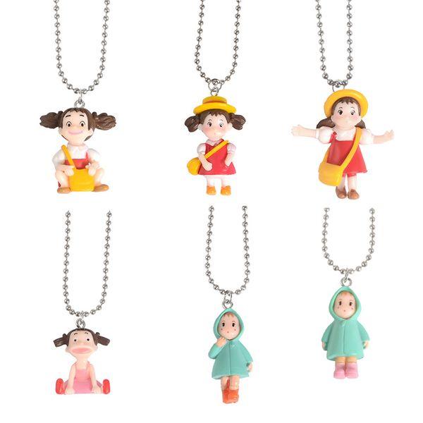Cartoon Anime Girl Pendant Metal Necklace Cute Girl Backpack Raincoat Pendant Chain Trendy Unique Children's Jewelry Gift