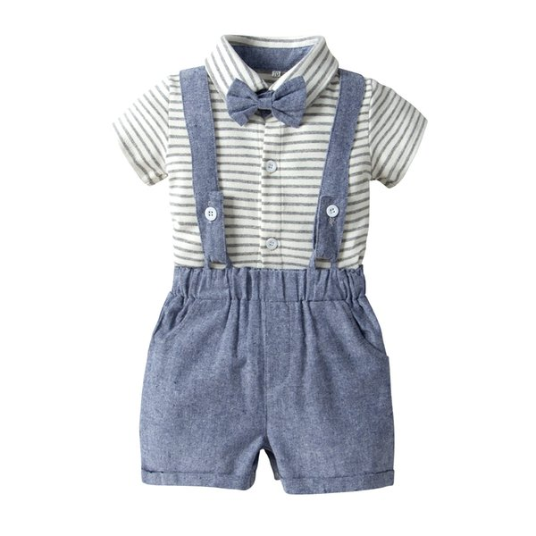 Cool Boy Suspender Trousers Short Sleeve Striped Shirt 3-piece Clothing Sets Kids Outfits Buy Buy Baby Clothing Casual Pants for 0-3 Years