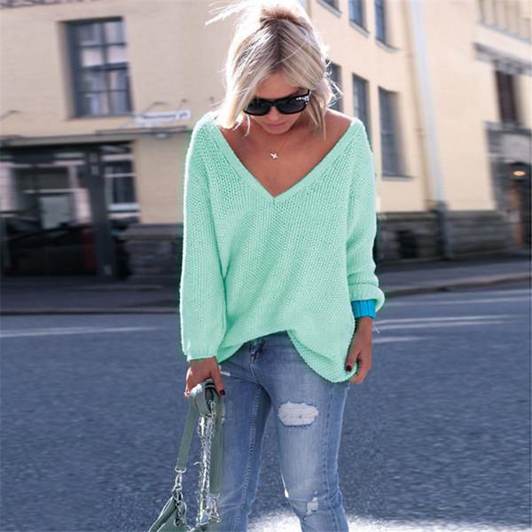30pcs Long Sleeve Women Sweaters V Collar Plain Fashion Pullover Loose Coat 10colors size S-XL
