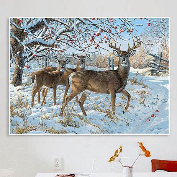 Alce di neve 5D diamante pittura cervo di buon auspicio pieno di diamanti paesaggio animale punto croce mosaico soggiorno studio camera da letto decorazione
