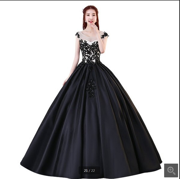 2019 Free shipping ball gown cap sleeve black lace appliques prom dress hollow back sexy beads sequined sweet 16 prom gowns 2019