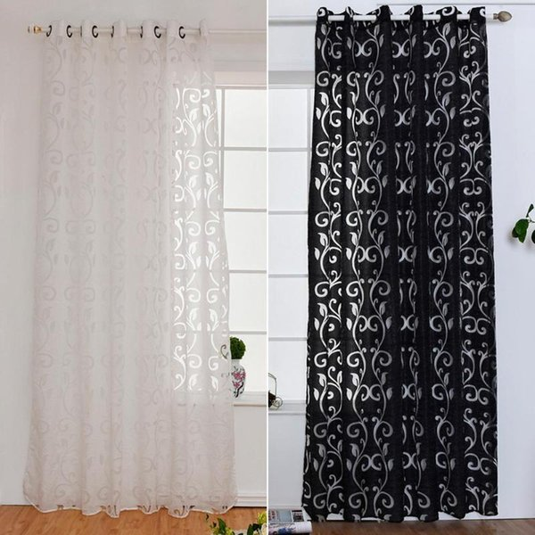 2019 Black White Curtain Window Living Room Jacquard Fabrics Luxury Semi  Blackout Curtains Panel Voile For Living Room Decoration New From  Stunning88, ...