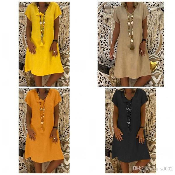 V neck princesa dress básico manga curta cor mulit solto na altura do joelho dress swing túnica balanço mulheres verão casa clothing 23ba1
