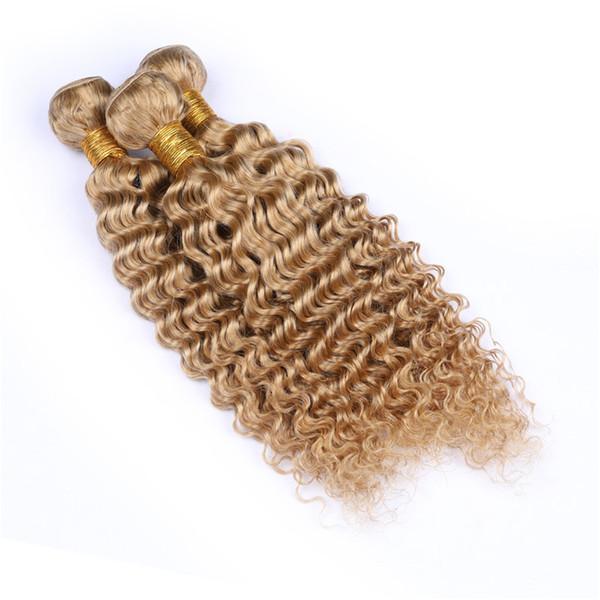 Capelli Vergini brasiliani # 27 Colore Deep Wave Miele Biondo Bundles 3 Offerte Bundles Strawberry Blonde ricci capelli ondulati estensioni