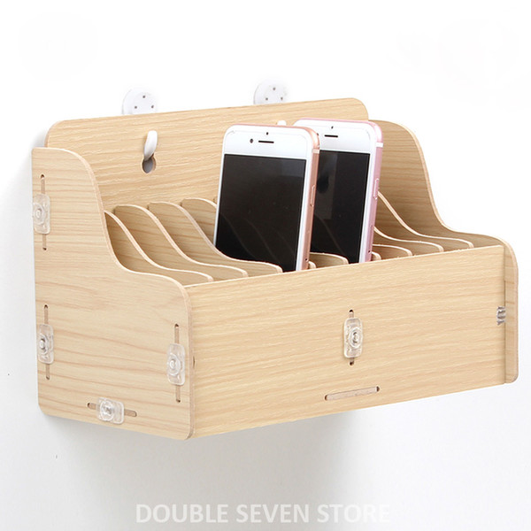 Hanging wooden mobile phone management storage box desktop office meeting finishing grid multi cell phone rack shop display