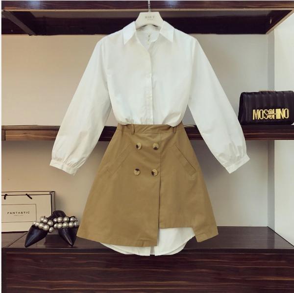 2019 Frühlingsfrauen Einfache Lange Weiße Hemdkleid + Hohe Taille Geöffnete Gabel Khaki Rock zweiteilige Mädchen Studenten Rock Set