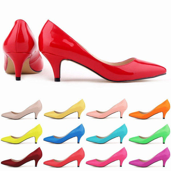 Zapatos Mujer Womens Sexy Pointed Toe High Heels Stiletto Work Nightclub Wedding Shoes Pumps Patent Leather Shoes Candy Color Us Size 4-11