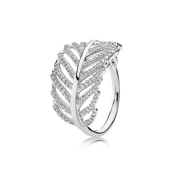 925 plata esterlina pluma de la boda RING LOGO caja original para joyas de compromiso Pandora CZ Diamond Crystal anillos para mujeres niñas