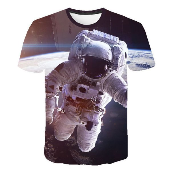 Gli astronauti luna manica corta estate Mens magliette di modo o collo 3D Digital Mens Stampa Top