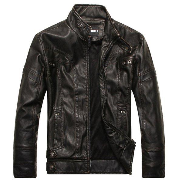 Kış Erkek Deri Ceket PU Motosiklet Ceket Erkek Fleece Casual Deri Mont Slim Fit Erkek Marka Giyim M-5XL MY154