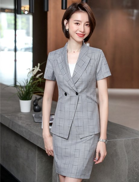 2019 Summer Formal Women Business Suits With Tops and Skirt For Ladies Office Professional Work Wear Female Blazers Novelty Gray