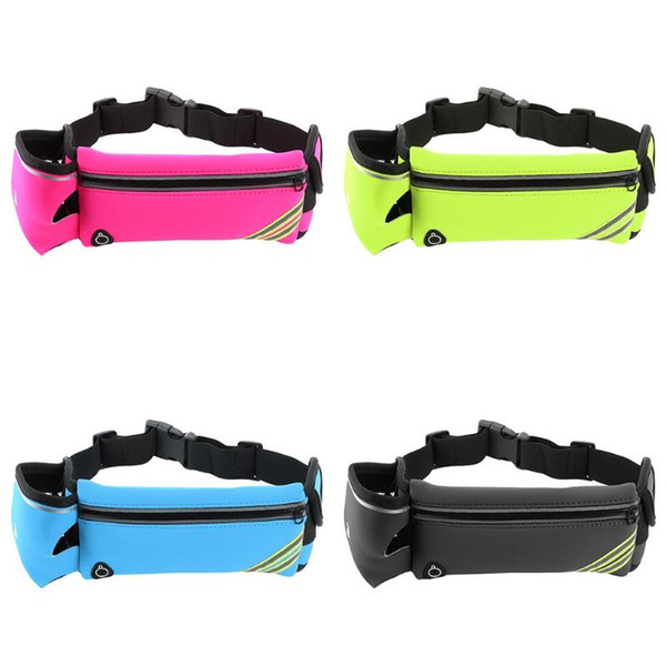 Outdoor Running Water Bottle Waist Bag Sports Bag Mobile Phone Holder Jogging Belt Belly Fitness with Reflective Stripes