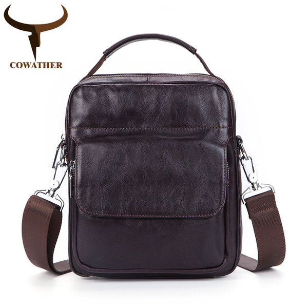 COWATHER 100% top cow genuine leather messenger bags for men high quality casual men shoulder bag tow color C8073 free shipping