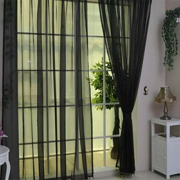 Boda Banquete Puerta Ventana Colorido Cortina Romántico Color puro Hilado de vidrio Flimsy Cortinas transparentes Cenefas Cortinas