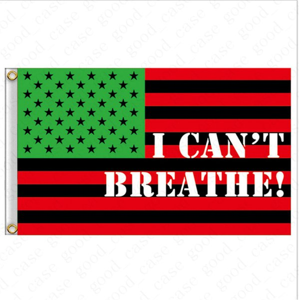 top popular I CAN'T BREATHE Flag 90*150CM 3*5 FT Black Protest USA Banners Letters Print Garden Flags American Parade Flags Home Party Decor D6411 2021