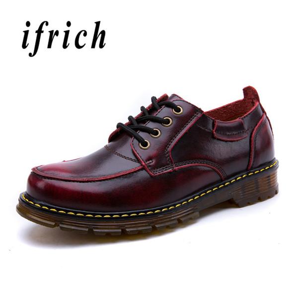 af5449488 Homens Derbi Sapatos De Couro Marrom Vinho Vermelho Sapatos De Trabalho Masculino  Apartamentos Confortáveis