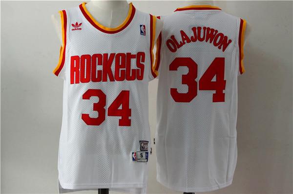 brand new 5a22b 3c78e Retro Mens 34 Hakeem Olajuwon Houston Jerseys Rockets Basketball Jerseys  Stitched Hardwood Classic Mesh Hakeem Olajuwon Retro Jerseys Shirts For  Groom ...
