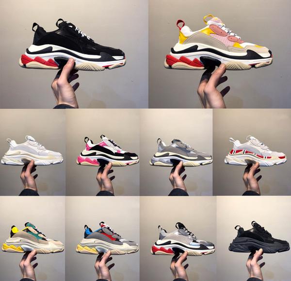 2019 Moda-Paris Rahat ayakkabılar 17FW Triple S Baba erkek Kadın Bej Siyah Ceahp Spor Tasarımcısı Üçlü S Ayakkabı Boyutu 36-45