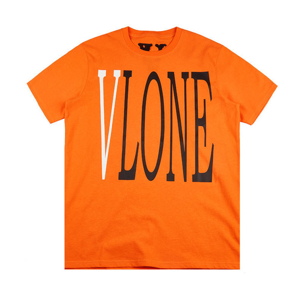 top popular Vlone Mens Stylist T Shirt Vlone Friends Men Women T Shirt High Quality Black White Orange T Shirt Tees Size S-XL 2020