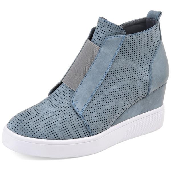 Zapatillas de plataforma Mujer Zapatillas de cuña de tacón alto Zapatos de mujer Tallas grandes 35-43 Mocasines con cremallera lateral de otoño Damas Zapatos casuales femeninos