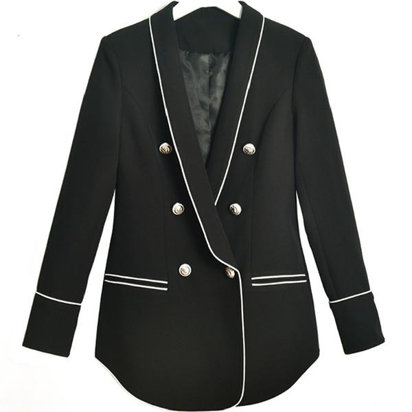 Piste Designer De Luxe Femmes Élégant Blazer À Manches Longues Costume Veste Manteau Outwear Dames Double Poitrine Blazers Femme Tops 2019