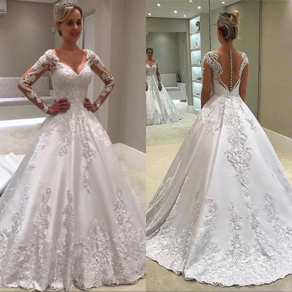 Modest White Long Sleeve A Line Wedding Dresses Sheer Backless With Buttons Jewel Neck Appliques Long Vestidos Bridal Gowns