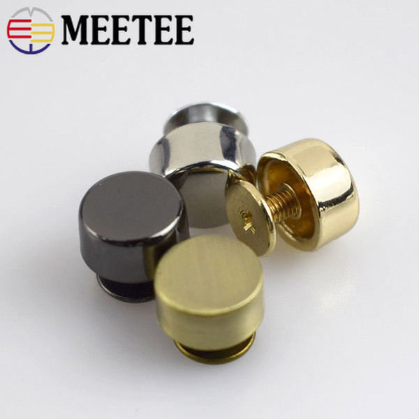 Meetee Round Head Rivet Screw For Bags Decorative Studs Button Nail Rivet Metal Buckles Handbag Snap Hook Leather Hardware G8-1
