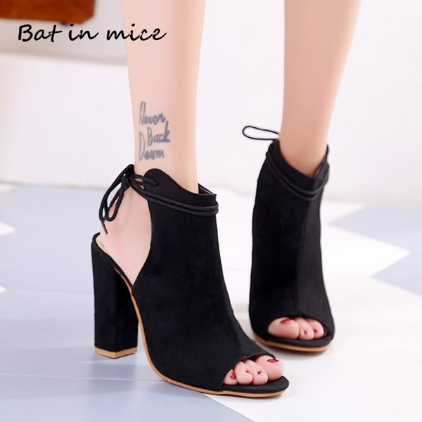 Designer Dress Shoes Plus size 35-43 Women high heels Casual women Platform Peep Toe Lace-Up Pumps Party Dress woman Zapatos Mujer W708