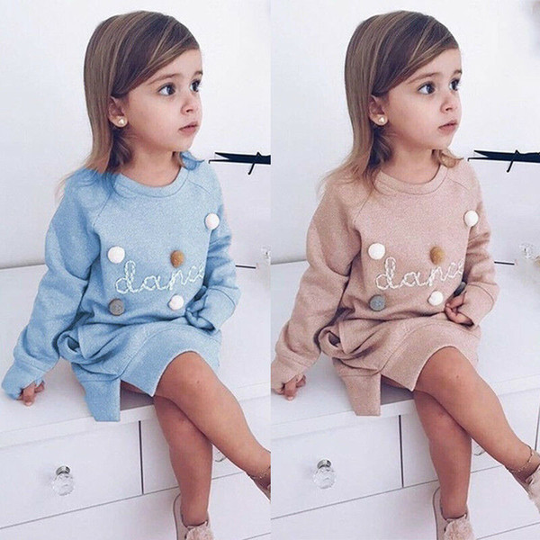 Toddler Children Dress Girl Baby Clothing Winter Cotton Warm Kids Loose Straight Hoodies Dresses For Girls Robe