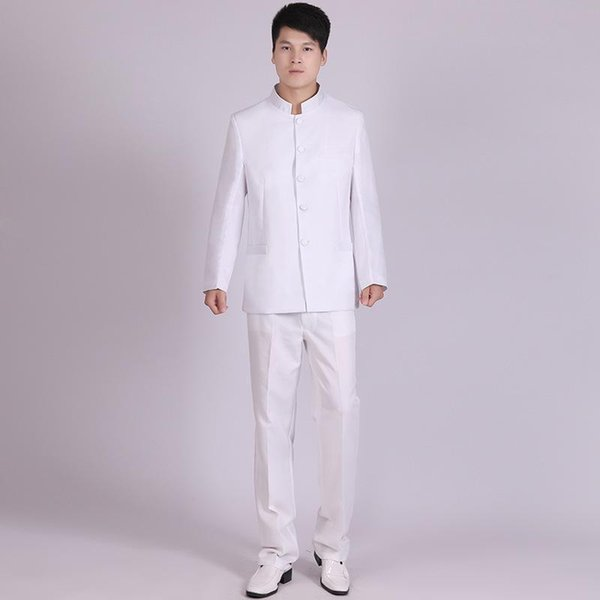(Jacket+Pants) XXS-XL Black And White Chinese Style Men's Student Chinese Tunic Suit Chorus Mens Suits Stage Wear Show