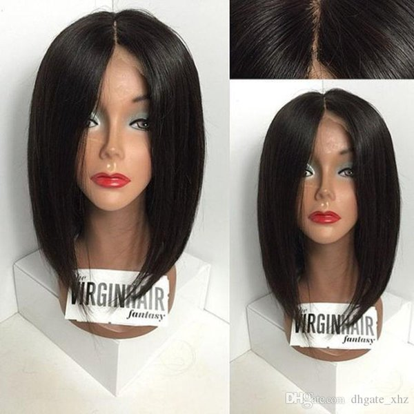 New Arrival Unprocessed 7A Peruvian Human Hair Bob Silky Straight Bleached Knots Silk Top Full Lace Wigs With Baby Hair