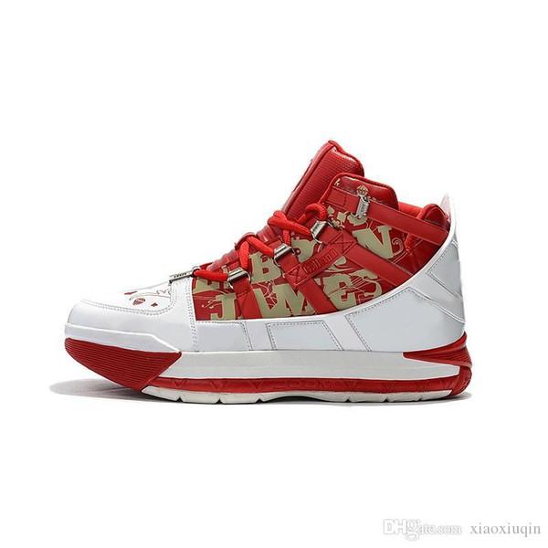 Pas cher rétro lebron 16 chaussures de basket à vendre Floral White Red SuperBron bleu or haut tops youh enfants lebrons 3 baskets bottes avec boîte