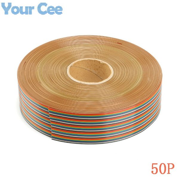 Freeshipping 5 meter 1.27mm Spacing Pitch 50 Way 50 Pin Flat Color Rainbow Ribbon Cable Wiring Wire Stranded Conductor For PCB DIY 50P