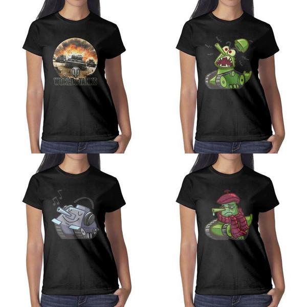 Stampa design donna World of Tanks Tank Sticker Cartoon maglietta nera personalizzata graphic designer band camicie slim fit biker Font