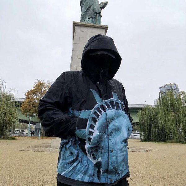 THENF X BOX LOGO Статуя Свободы Baltoro с капюшоном куртки печати Ветровка Hoodie Повседневный Улица Zipper Три цвета Outwear HFHLJK077