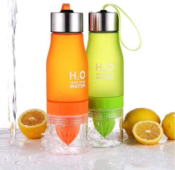 650 ml gefrostetem kunststoff lemon flaschen tassen auslaufsichere wasser tassen flaschen h2o tragbare sport wasserflasche für outdoor sport laufen camping