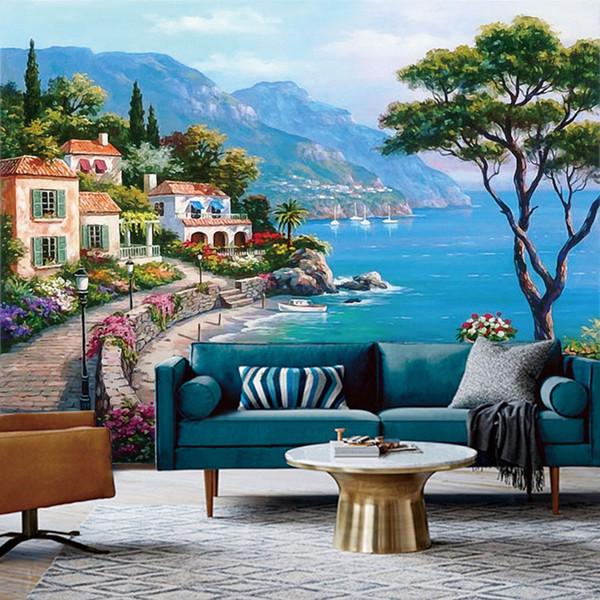 Encargo mural del papel pintado 3D mediterráneo petróleo pintura del fondo de los documentos de la pared del paisaje Decoración Sala de estar Sofá TV de papel de pared