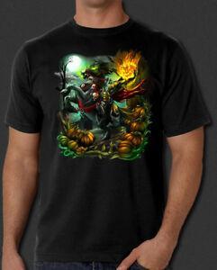 T-shirt S-6XL de cavalier sans tête creux d'horreur de Halloween sans sommeil creux