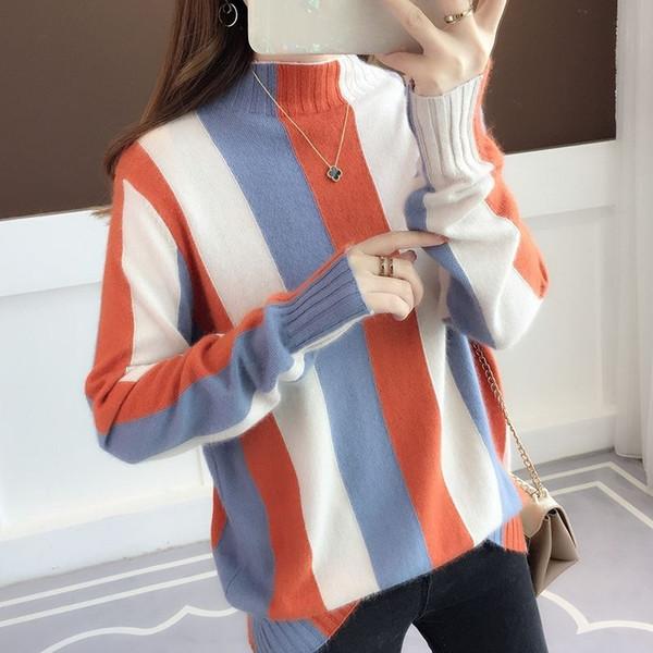 Rainbow Stripe antumn et pull d'hiver contraste pull tricoté 2019 à col roulé à manches longues en tricot de mode mince femmes sautent