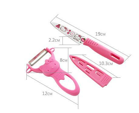 Kitchen Gadgets Tools Pink Cat Neko Hello Kitty Pattern Fruit Knife and Peelers Cute Kawaii Tools Gift for family wa0004