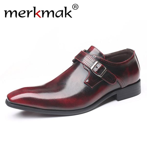 Merkmak Punta puntiaguda Moda de negocios británica Boda Tallas grandes zapatos de cuero para hombres venta caliente conjunto pie zapatos de hombre con una sola hebilla