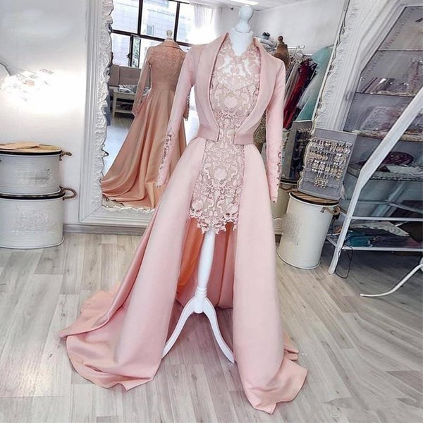 2019 2 Pieces Pink Sheath Short Evening Dresses with Coat V Neck Long Sleeve Full Lace Party Gowns Satin Women's Special Occasion Dress